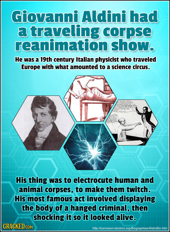 Giovanni Aldini had a traveling corpse reanimation show. He was a 19th century Italian physicist who traveled Europe with what amounted to a science c