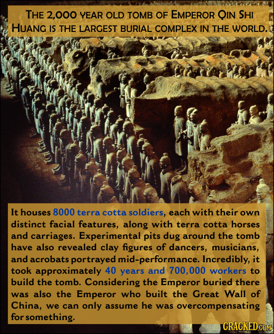 THE 2,000 YEAR OLD TOMB OF EMPEROR QIN SHI HUANG IS THE LARGEST BURIAL COMPLEX IN THE WORLD. r Ln T It houses 8000 terra cotta soldiers, each with the