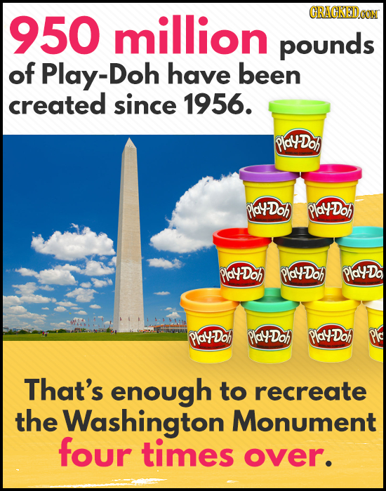 950 million pounds of Play-Doh have been created since 1956. PlaDoA PlaU Doh PlaYDoh PlaDoh PlaYDoh PlalDo PlayDoh PlayDoh PlalDoh Plc That's enough t