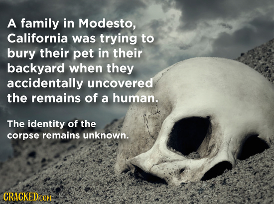 A family in Modesto, California was trying to bury their pet in their backyard when they accidentally uncovered the remains of a human. The identity o