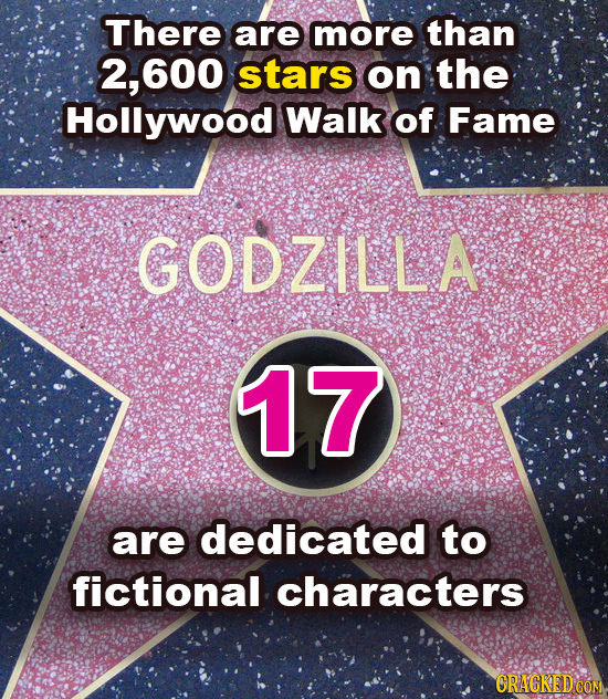 There are more than 2, .600 stars on the Hollywood Walk of Fame GODZILLA 17 are dedicated to fictional characters CRACKEDCON