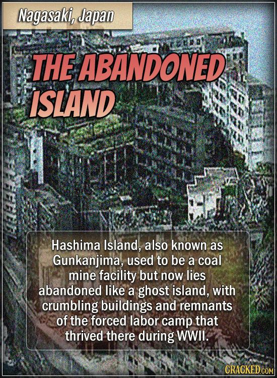 Nagasaki, Japan - The abandoned island - Hashima Island, also known as Gunkanjima, used to be a coal mine facility but now lies abandoned like a ghos