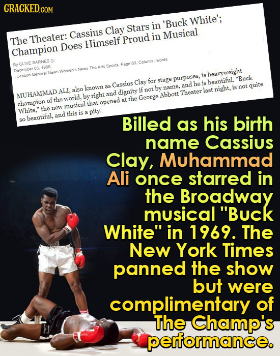 CRACKEDG COM 'Buck White'; in Clay Stars Cassius Musical The Theater: Proud in Does Himself Champion 0: Column CLVE BARNES word's By Page 63. Soorts.