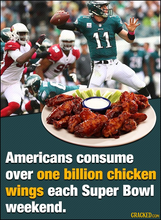 Pas 11 Americans consume over one billion chicken wings each Super Bowl weekend.