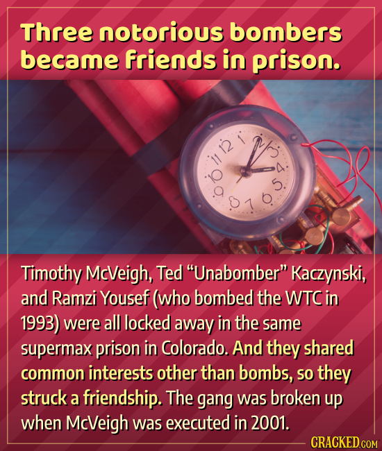 Three notorious bombers became friends in prison. Timothy McVeigh, Ted Unabomber Kaczynski, and Ramzi Yousef (who bombed the WTC in 1993) were all l