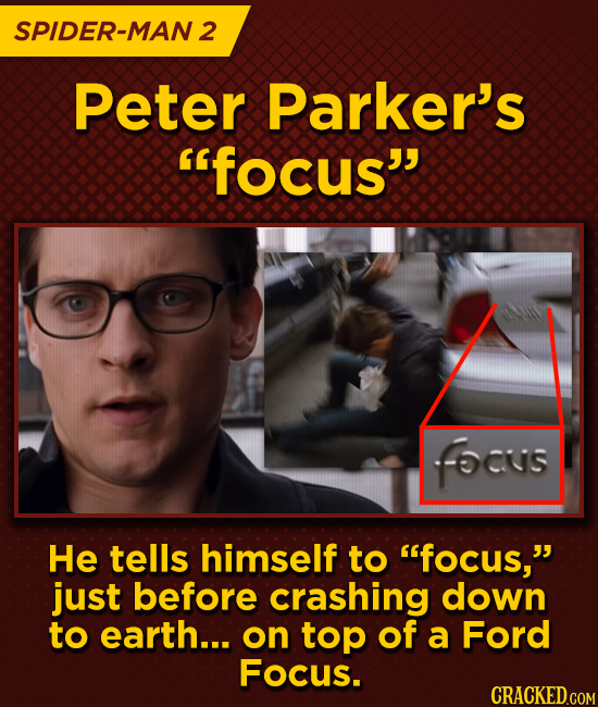 SPIDER-MAN 2 Peter Parker's focus fOus He tells himself to focus, just before crashing down to earth... on top of a Ford Focus.