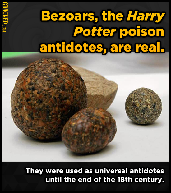 CRACKED.COM Bezoars, the Harry Potter poison antidotes, are real. They were used as universal antidotes until the end of the 18th century.
