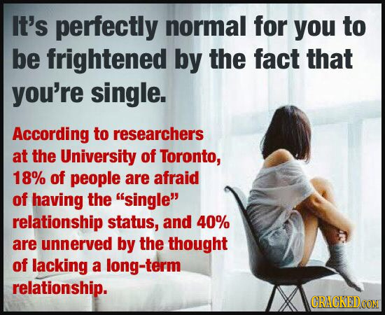 It's perfectly normal for you to be frightened by the fact that you're single. According to researchers at the University of Toronto, 18% of people ar