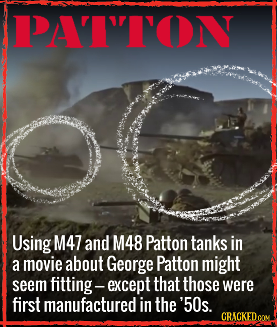 PAITODN Using M47 and M48 Patton tanks in a movie about George Patton might seem fitting. -except that those were first manufactured in the '50s. CRAC