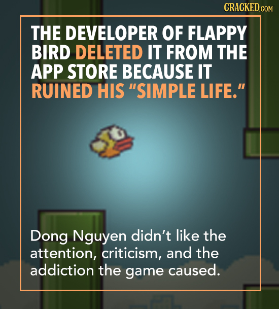 THE DEVELOPER OF FLAPPY BIRD DELETED IT FROM THE APP STORE BECAUSE IT RUINED HIS SIMPLE LIFE. Dong Nguyen didn't like the attention, criticism, and