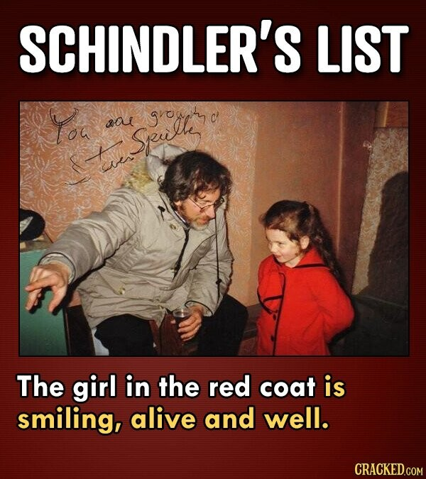 SCHINDLER'S LIST Yoa srowam sal Speulti a The girl in the red coat is smiling, alive and well.