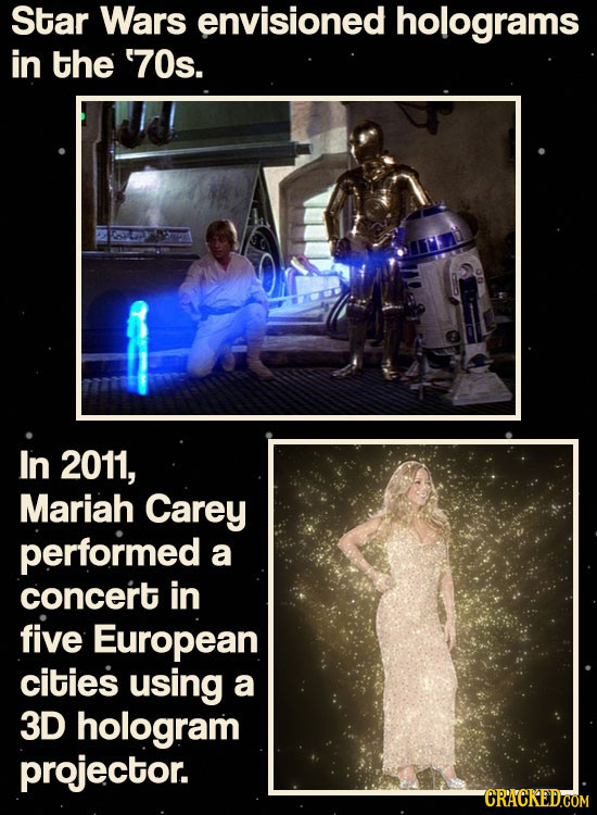 Star Wars envisioned holograms in the '70s. In 2011, Mariah Carey performed a concert in five European cities using a 3D hologram projector.