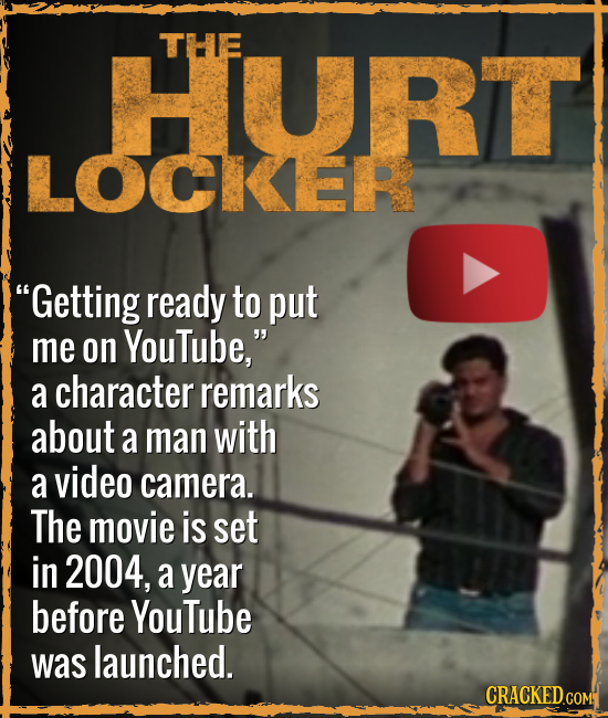 HURT THE LOCKER Getting ready to put me on YouTube, a character remarks about a man with a video camera. The movie is set in 2004, a year before You