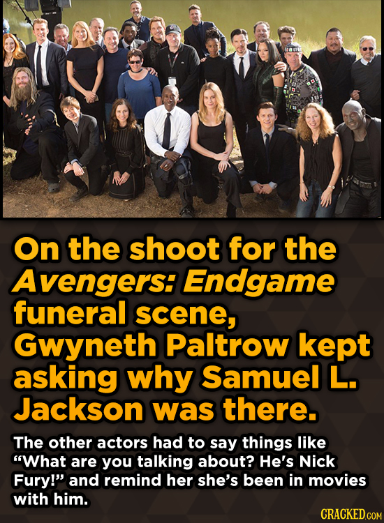 Ridiculous Behind-The-Scenes Stories From Your Favorite Movies And Shows - On the shoot for the Avengers: Endgame funeral scene, Gwyneth Paltrow