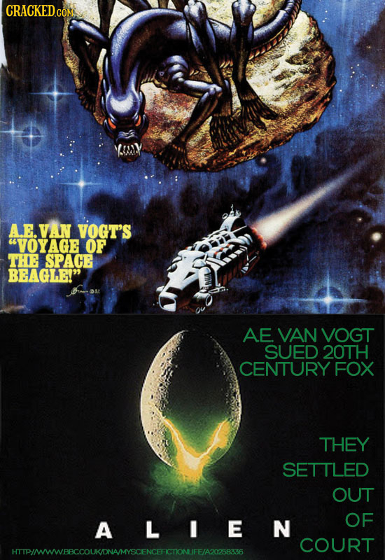 AEVAN VOGTS 'VOYAGE OF THE SPACE BEAGLE! AE VAN VOGT SUED 20TH CENTURY FOX THEY SETTLED OUT OF A L N COURT HTIPIMWWBBCCOUKONAMYSCENCEFCTONUFE/A2T5836