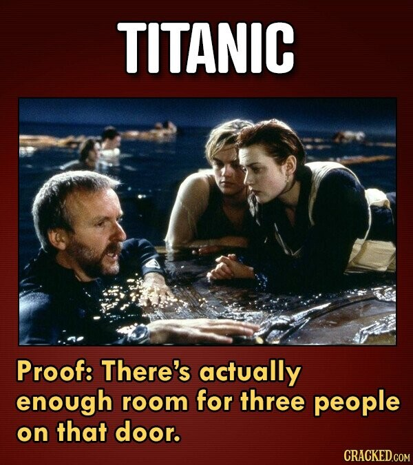 TITANIC Proof: There's actually enough room for three people on that door.
