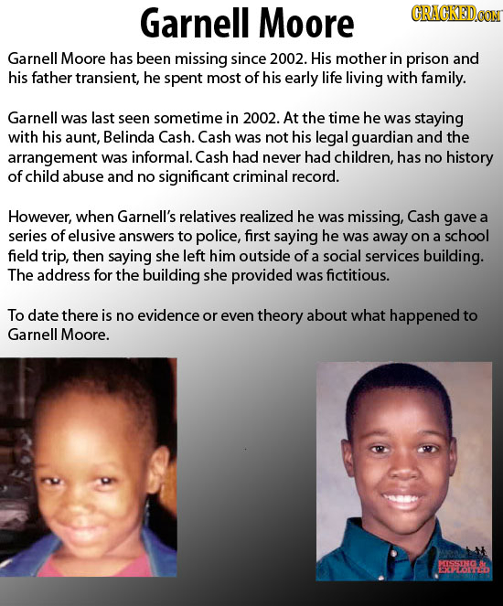 Garnell Moore CRACKEDCON Garnell Moore has been missing since 2002. His mother in prison and his father transient, he spent most of his early life liv