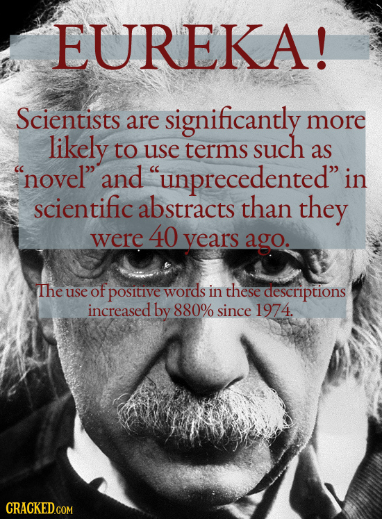 EUREKA! Scientists are significantly more likely to use terms such as novel and unprecedented in scientific abstracts than they 40 were years ago.
