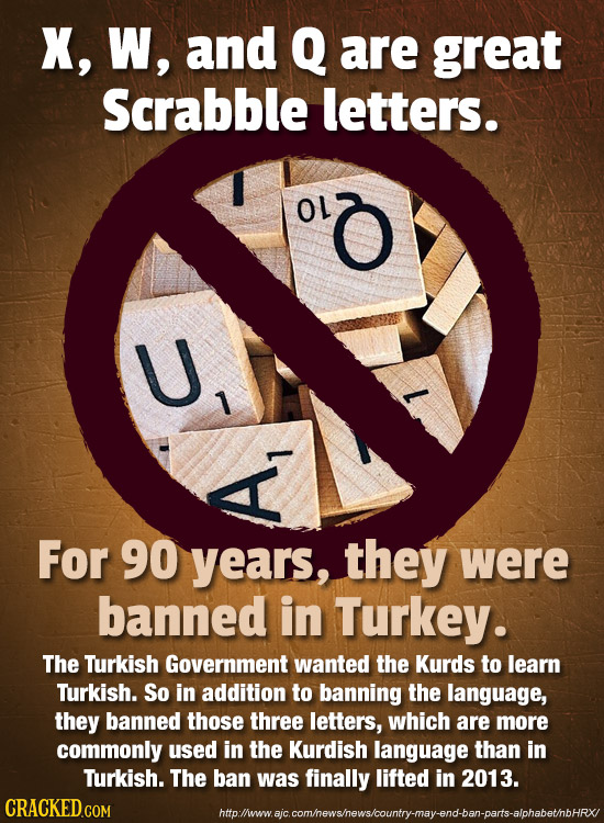 X, W, and Q are great Scrabble letters. OL O 7 1 For 90 years, they were banned in Turkey. The Turkish Government wanted the Kurds to learn Turkish. S