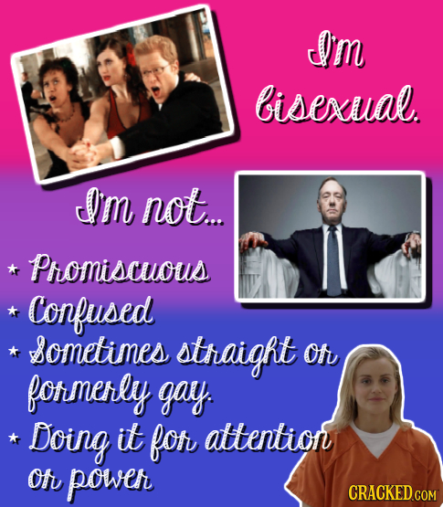 Im bisexual. Im not. Promiscuous Confused sometimes straight Of formerly gay. Doing it fof attention Of powe CRACKED COM