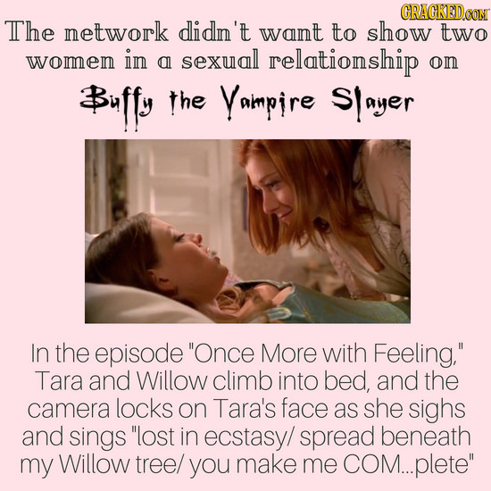 The network didn't want to show two womem in sexual al relationship om #uffy the Yaimpire Slayer In the episode Once More with Feeling, Tara and Wil