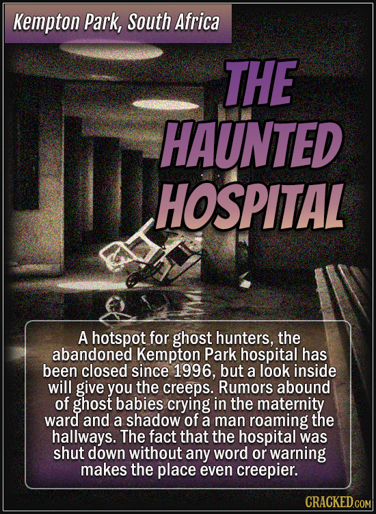 Kempton Park, South Africa - The haunted hospital - A hotspot for ghost hunters, the abandoned Kempton Park hospital has been closed since 1996, but a