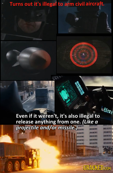 Turns out it's illegal to arm civil aircraft. es Even if it weren't, it's also illegal to release anything from one. (Like a projectile and/or missile