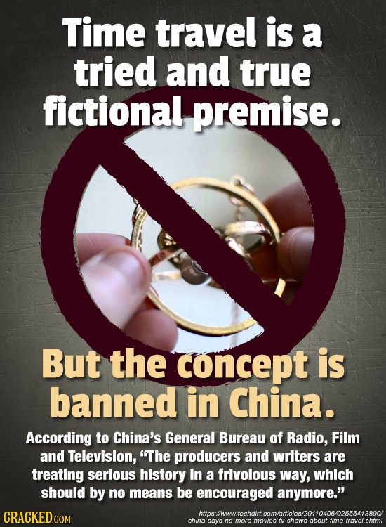 Time travel is a tried and true fictional premise. But the concept is banned in China. According to China's General Bureau of Radio, Film aNd Televisi