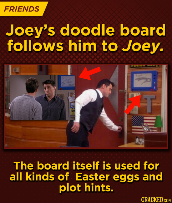 FRIENDS Joey's doodle board follows him to Joey. Love G you MAN T The board itself is used for all kinds of Easter eggs and plot hints.
