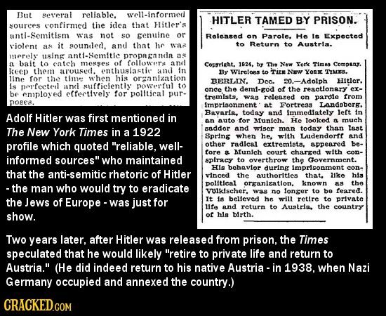 But seeral reliable, well-intormed HITLER TAMED BY PRISON. sOuRCES confirmed the idea that Flitler's unti-Semitism was not so enuine or Released on Pa