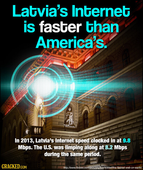 Latvia's Internet is faster than America's. In 2013, Latvia's Internet speed clocked in at 9.8 Mbps. The U.S. was limping along at 8.2 Mbps during the