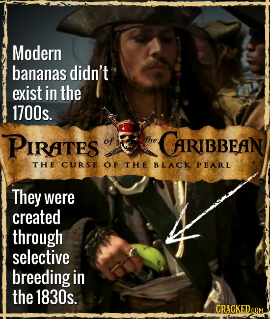 Modern bananas didn't exist in the 1700s. PIRATES of The CARIBBEAN THE CURSE OF THE BLACK PEARL They were created through selective breeding in the 18