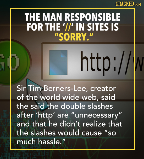 CRACKED cO THE MAN RESPONSIBLE FOR THE'II' IN SITES IS SORRY. http: W Sir Tim Berners-Lee, creator of the world wide web, said the said the double s