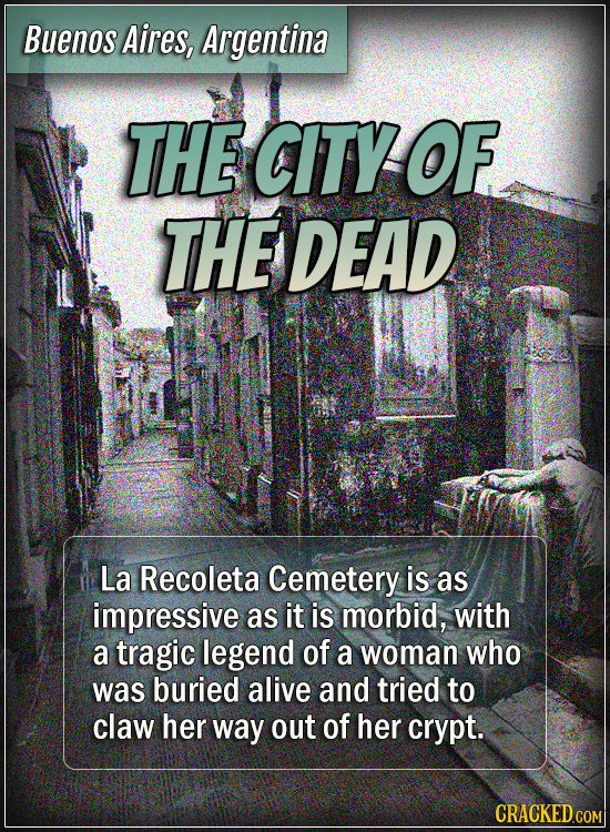 Buenos Aires, Argentina - The city of the dead -  La Recoleta Cemetery is as impressive as it is morbid, with a tragic legend of a woman who was burie