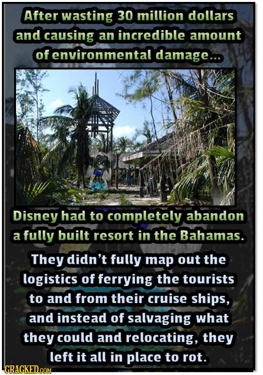 After wasting 30 million dollars and causing an incredible amount of environmental damage... Disney had to completely abandon a fully built resort in