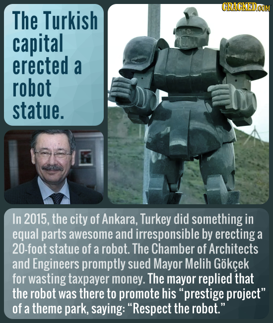 CRAGKEDCO The Turkish capital erected a robot statue. In 2015, the city of Ankara, Turkey did something in equal parts awesome and irresponsible by er
