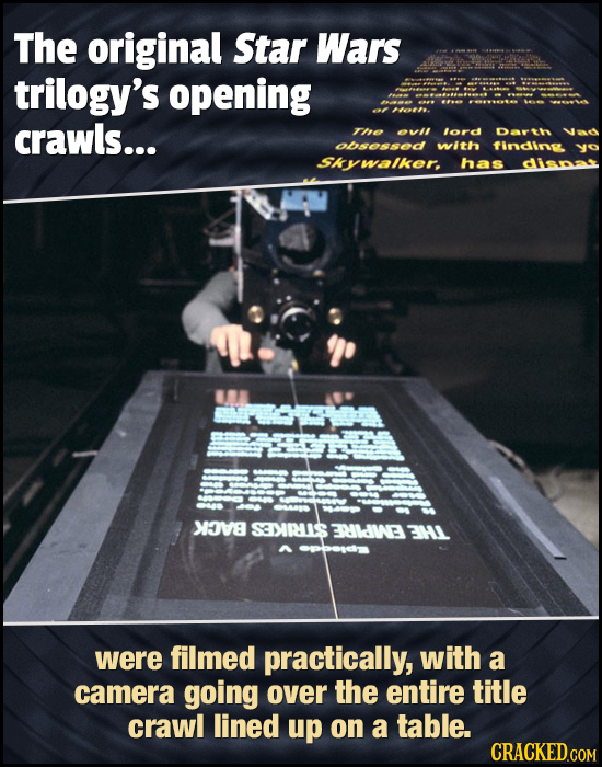 The original Star Wars trilogy's opening crawls... T 0vII lord Dath Obso5s6d with findin SKywalker. has disnat XAVE SEIRIS FRLdWE 3H1 were filmed prac