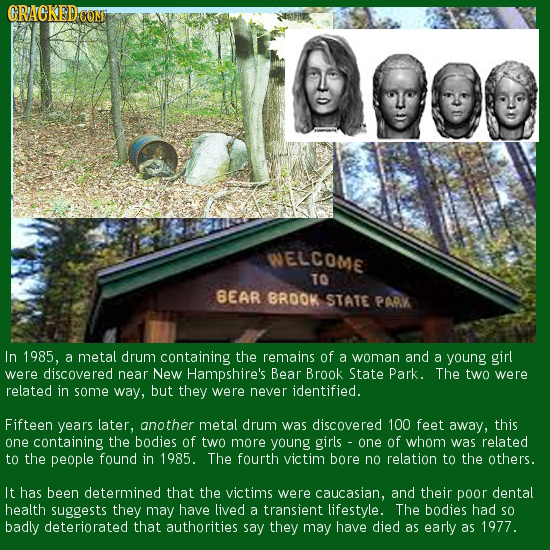 CRACKEDC WELCOME TO BEAR BROOK STATE PARK In 1985, a metal drum containing the remains of a woman and a young girl were discovered near New Hampshire'