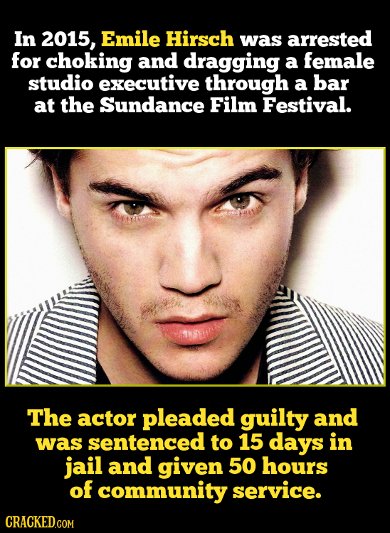 In 2015, Emile Hirsch was arrested for choking and dragging a female studio executive through a bar at the Sundance Film Festival. The actor pleaded g