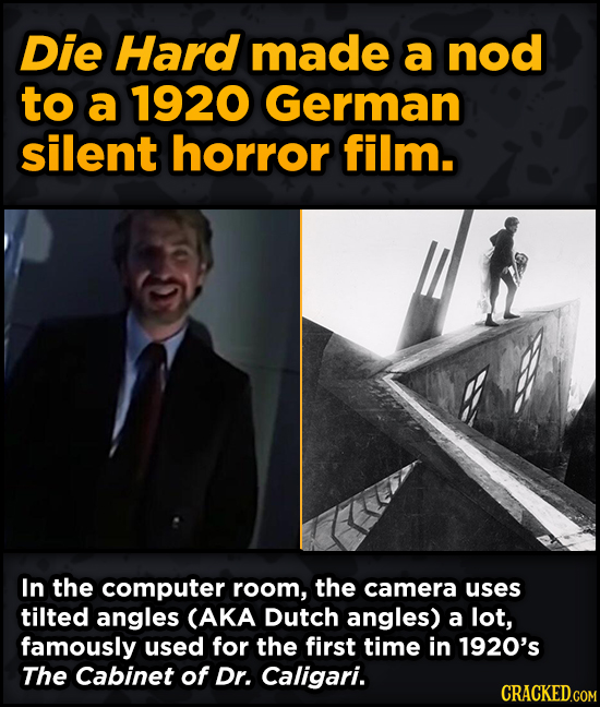 Movie Scenes With Hidden Homages To Other Movies - Die Hard made a nod to a 1920 German silent horror film.