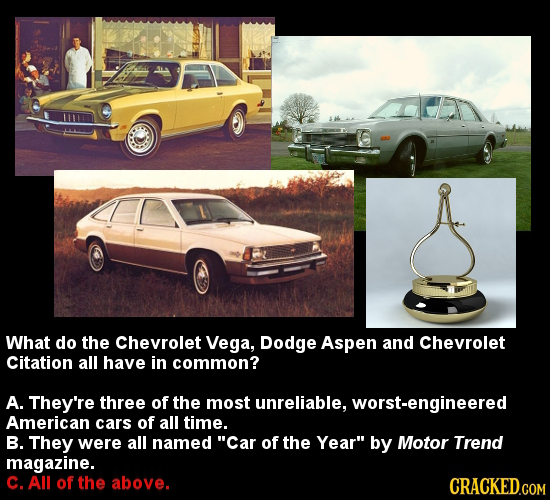 What do the Chevrolet Vega, Dodge Aspen and Chevrolet Citation all have in common? A. They're three of the most unreliable, geered American cars of al