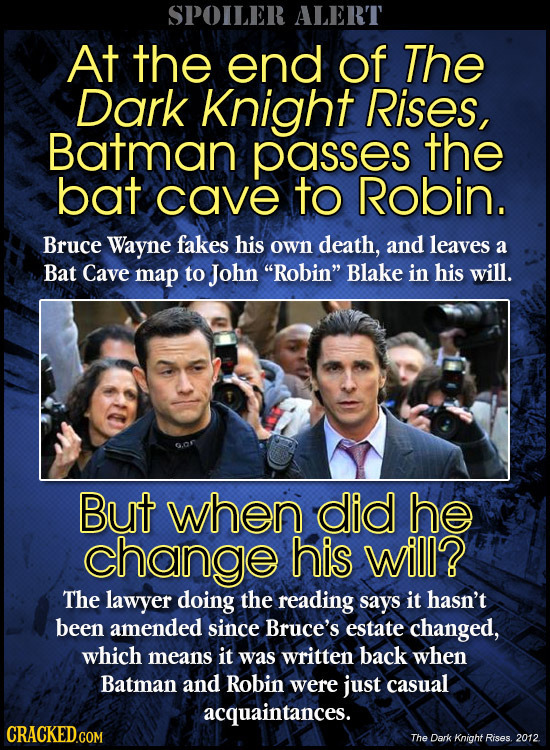 SPOILER ALERT At the end of The Dark Knight Rises, Batman passes the bat cave to Robin. Bruce Wayne fakes his own death, and leaves a Bat Cave map to
