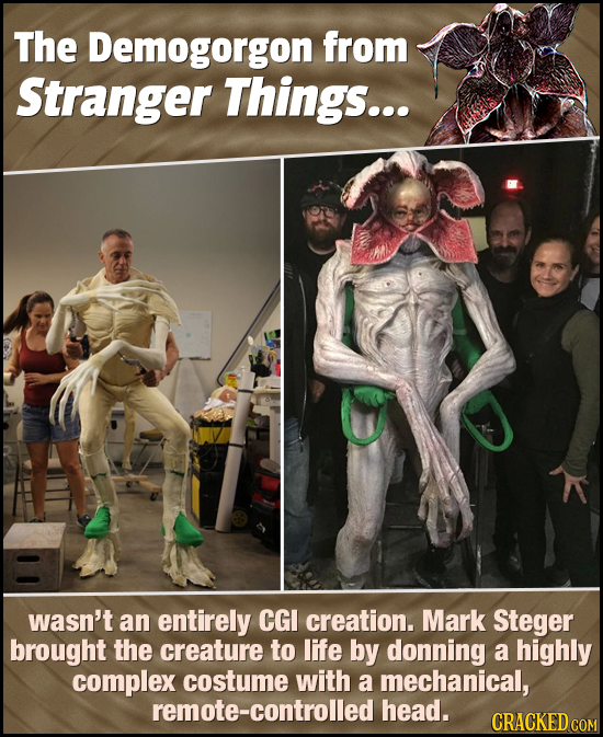 The Demogorgon from Stranger Things... wasn't an entirely CGI creation. Mark Steger brought the creature to life by donning a highly complex costume w
