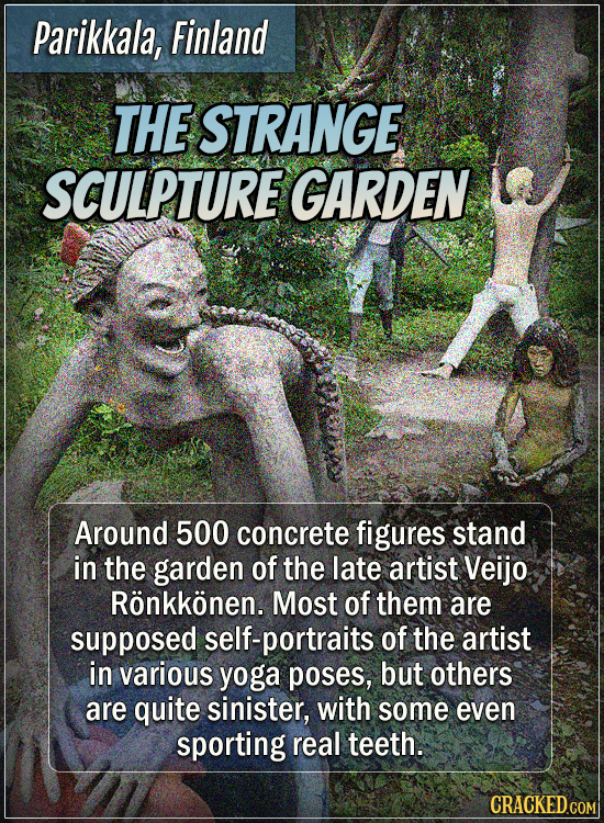 Parikkala, Finland - The strange sculpture garden - Around 500 concrete figures stand in the garden of the late artist Veijo Rönkkönen. Most of them a