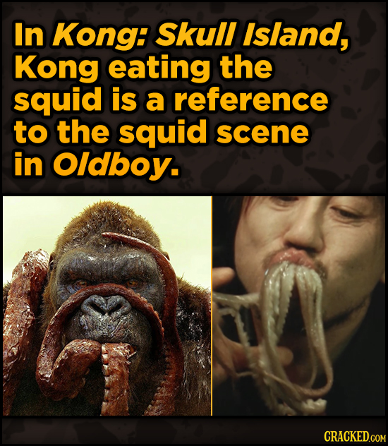 Movie Scenes With Hidden Homages To Other Movies - In Kong: Skull Island, Kong eating the squid is a reference