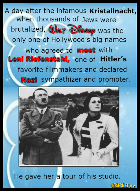 A day after the infamous Kristallnacht, when thousands of Jews were brutalized, WAlT Disrey was the only one of Hollywood's big names who agreed to me