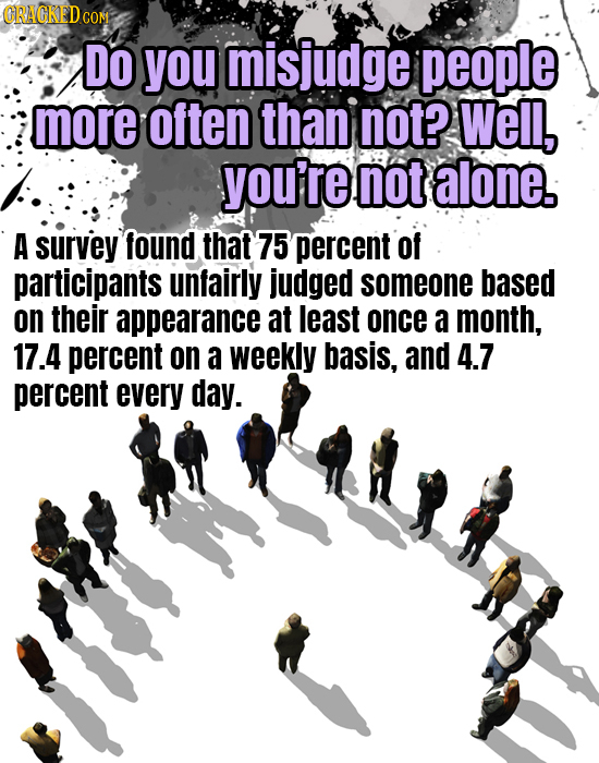 CON Do you misiudge people more often than not? Well, you're not alone. A survey found that 75 percent of participants unfairly judged someone based o