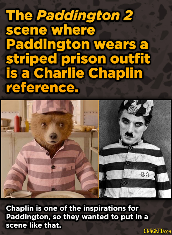 Movie Scenes With Hidden Homages To Other Movies - The Paddington 2 scene where Paddington wears a striped prison outfit
