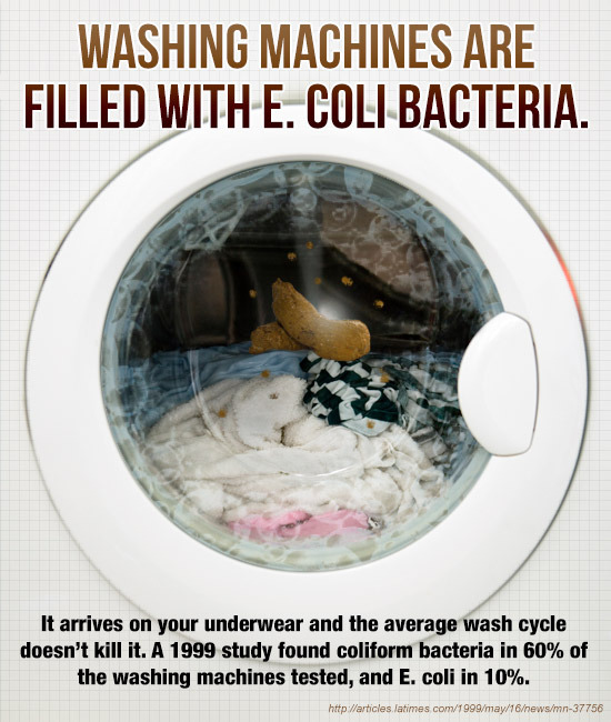 WASHING MACHINES ARE FILLED WITH E. COLI BACTERIA. It arrives on your underwear and the average wash cycle doesn't kill it. A 1999 study found colifor