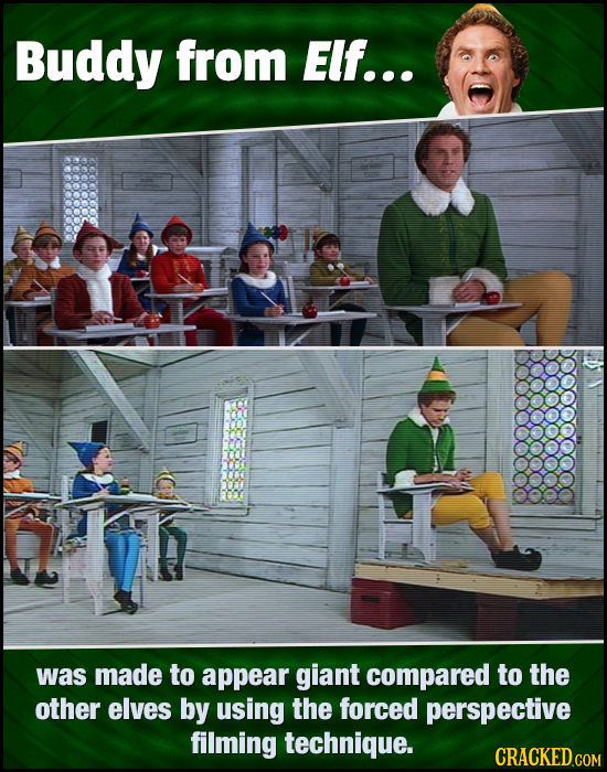 Buddy from Elf... was made to appear giant compared to the other elves by using the forced perspective filming technique. CRACKED.COM